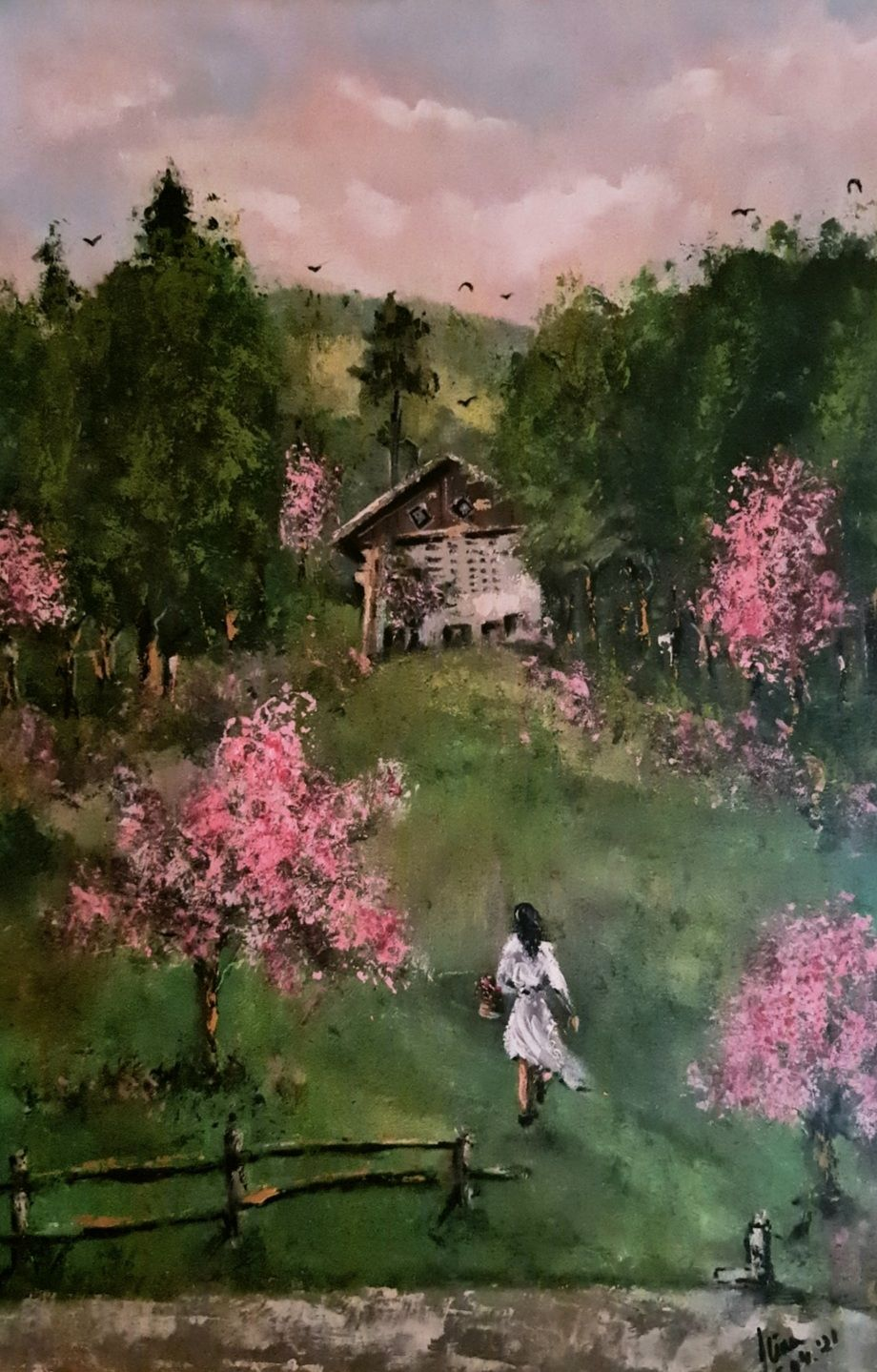 ArteDiAlina.com painting: Cabin in the woods